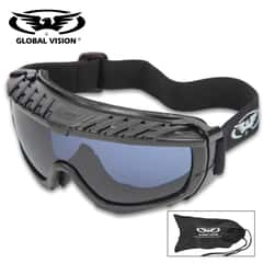 Global Vision Ballistech Anti-Fog Protective Glasses With Smoke Colored Lenses - Shatterproof, Scratch-Resistant, Matte Black Frames, UV Protection