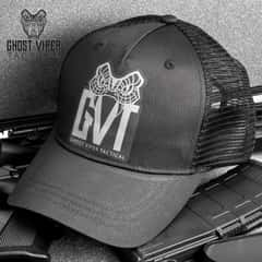 Ghost Viper Tactical Hat - Trucker Style Cap, Polyester Mesh Back, Black Cotton Twill Front, Adjustable Snap Back Strap