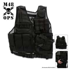 M48 OPS Black Mesh Tactical MOLLE Vest