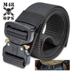 "M48 Black Quick Release Rigger's Belt - 1000D Nylon Webbing, Metal Buckle, Versatile, Adjustable, 1 1/2"" Wide - Length 48"""