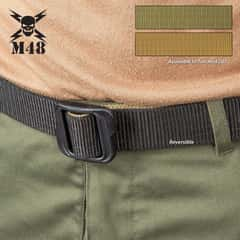 M48 Double-Sided Belt - Nylon Webbing, Heavy-Duty ABS Buckle, Laser Cut And Sealed Tip, Adjustable Size - Length 49""