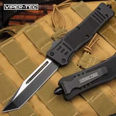 Phantom Series Black OTF Tanto Knife - Stainless Steel Blade, Two-Tone Finish, Metal Alloy Handle, Pocket Clip - Length 9 2/5""