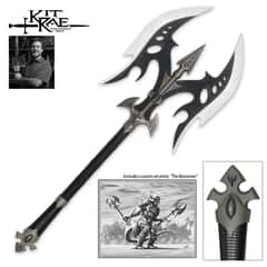 """Kit Rae Black Legion Battle Axe - Stainless Steel Blades, Leather-Wrapped Handle, Metal Handle Accents, Includes Art Print - Length 35"""""""