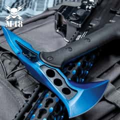 M48 Blue Tactical Tomahawk Axe With Snap On M48 Sheath - Hawk Axe, Stainless Steel Blade, Fiberglass Handle - Length 15""