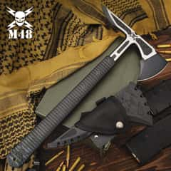 M48 Liberator Infantry Tomahawk With Sheath - Cast Stainless Steel Head, Black Oxide Coating, Injection Molded Nylon Handle - Length 15 3/4""