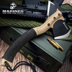 """USMC Field Axe With Sheath - Stainless Steel Head, Stonewashed Coating, Paracord Wrapped ABS Handle - Length 11 1/4"""""""