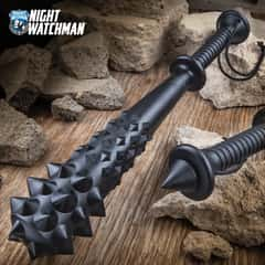 Night Watchman Law Enforcement Tactical Mace - Solid One-Piece Polypropylene Construction, Spiked Pommel - Length 20""