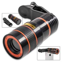 """Universal Cell Phone Zoom Telescope - 8X Optical Magnification, Clip Attachment, Lens Caps - Length 2 3/4"""""""