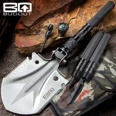 BugOut Multi-Function Folding Entrenchment Tool And Pouch - Shovel, Saw, Screw Drivers, Cord Cutter, Bottle Opener, Compass, Fire Striker
