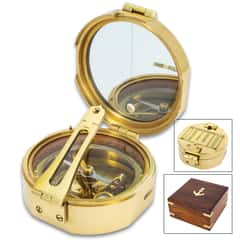 "Compass In Wooden Box - High-Quality Brass Construction, Mirror Inside Lid, Specialized Instrument - Dimensions 4""X 4""X 2"""