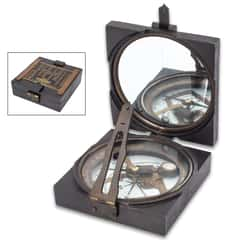 "Replica Antique Compass - Solid Iron And Brass Construction, Mirrored Lid, Specialized Instrument - Dimensions 4""x 4""x 1 1/4"""