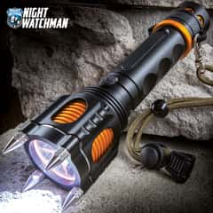 """Night Watchman Spiked Self-Defense LED Flashlight - Water-Resistant, Aluminum Alloy Construction, Five Light Modes - Length 7 1/2"""""""