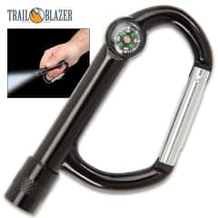 Trailblazer Carabiner With LED Light And Compass - Aluminum Construction, Spring-Loaded Gate Design - Length 3""