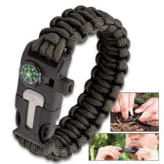 SHTF Multi-Function Paracord Bracelet - Fire Starter, Emergency Whistle, Integrated Compass