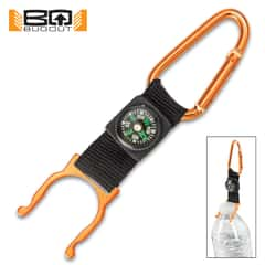 BugOut Carabiner Bottle Holder And Compass - Stainless Steel Construction, Spring Lock Gate, Nylon Webbing Strap - Length 5""