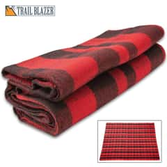 "Trailblazer Buffalo Plaid Wool Blanket - 80% Wool Construction, Stitched Edges, Retains Insulation When Wet, Dimensions 64""x 84"""