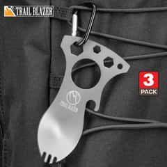 "Trailblazer Spork Multi-Tool And Carabiner - Stainless Steel Construction, Bottle Opener, Screwdriver, Pry Tip, Wrenches - Length 4"" - BOGO"