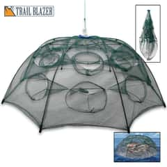 Trailblazer Foldable Bait Fish Trap - Polyester Mesh And Metal Construction, Umbrella Style Design - Diameter 37""