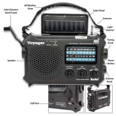 Kaito Voyager Classic Solar Radio - Five-Way Powered Emergency, Weather Alert, Flashlight, Reading Lamp, Dynamo Crank