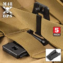 "M48 MOLLE Webbing Connecting Buckle Clip - Five-Pack, Sturdy POM Construction, One-Handed Release - Dimensions 2""x 1"""