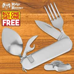 Camp Dining Tool With Knife, Fork, Spoon, Can Opener - BOGO