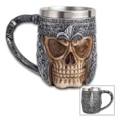 Knight's Skull Mug And Tankard - Forged With Cold Cast Resin, Hand-Painted, Stainless Steel Liner, Foam Padded Bottom - 12-Oz Capacity