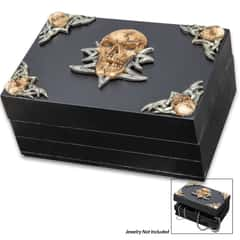 "Celtic Death Head Skull Wooden Box - Intricately Detailed Resin Accents, Hand-Painted, Hinged Lid - Dimensions 5 3/4""x 4""x 2 1/2"""