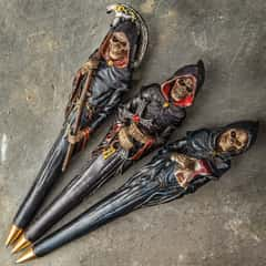 """Grim Reaper Three-Piece Ball Point Pen Set - Crafted Of Polyresin, Intricate Painted Detail, Three Different Designs - Length 6"""""""