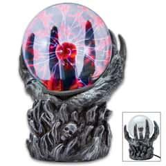 "Hellacious Hand Crystal Ball - Plasma Sphere, Touch Sensitive, High-Strength Glass Construction, Sculpted Resin Base - Dimensions 6""x 3 1/4""x 7 1/2"""