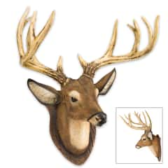 12-Point Buck / Deer Head Reproduction Wall Sculpture on Faux Wood Plaque