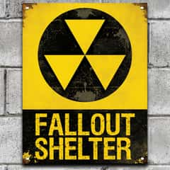 "Fall Out Shelter Sign - 24-Gauge Metal Construction, Vivid Artwork, Vintage Look, Four Mounting Holes - Dimensions 14""x 8"""