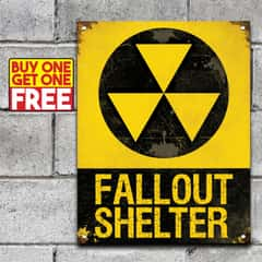 "Fall Out Shelter Sign - 24-Gauge Metal Construction, Vivid Artwork, Vintage Look, Four Mounting Holes - Dimensions 14""x 8"" - BOGO"