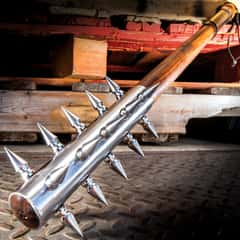 """Spiked Barbarian Mace - High Carbon Steel Head With Spikes, Wooden Handle, Faux Leather Wrapped Grip - Length 28"""""""