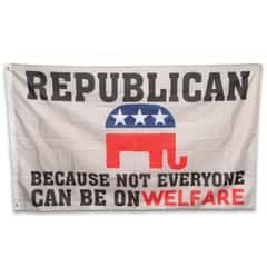 Republican Welfare Flag - 210D Nylon Construction, Reinforced Header, Double-Stitched Edges, Metal Grommets