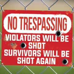 "No Trespassing Violators Will Be Shot Tin Sign - Vibrant Artwork, Corrosion Resistant, Fade Resistant, Mounting Holes - Dimensions 16""x 12 1/2"""