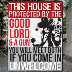 "This House Is Protected By God Tin Sign - Vibrant Artwork, Corrosion Resistant, Fade Resistant, Mounting Holes - Dimensions 12 1/2""x 16"""