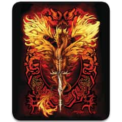 "Flaming Dragon Blade Faux Fur Blanket - Plush Acrylic Material, Color-Saturated Vivid Artwork - Dimensions 70""x 90"""