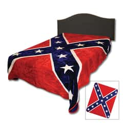 Confederate Rebel Flag Faux Fur Blanket - Queen Size