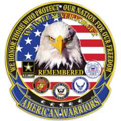 """American Warriors 12"""" Diameter Round Aluminum Sign"""