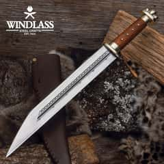 Saxon Seax Knife With Leather Sheath - Etched Blade, Flat Ground, Wooden Handle, Brass Pommel And Guard