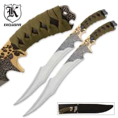 "Jungle Suede Flyers Twin Sword Set With Scabbard - Crackled Black Finish, Suede-Wrapped Handles, Gold-Plated Accents - 19"" Length"