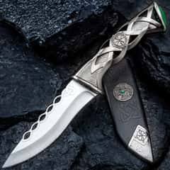 """Twisted Celtic Dagger With Sheath - Stainless Steel Blade, Solid Steel Handle, Faux Emerald Accent - Length 10"""""""
