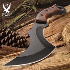 Raven Fury Knife With Sheath - Stainless Steel Blade, Non-Reflective Finish, Wooden Handle, Open-Ring Pommel - Length 9""