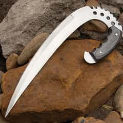 Riddick Claw Knife With Sheath - Stainless Steel Blade, Aggressive Cut-Outs, Full Tang, Wooden Handle Scales - Length 12 3/4""