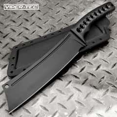 Viper-Tec Ronan Fixed Blade Knife With Kydex Sheath - 3Cr13 Stainless Steel Cleaver Blade, Black Finish - Length 14""