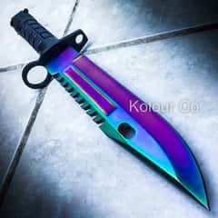 """13"""" Tactical Fixed Blade Hunting Knife Bayonet Bowie RAINBOW FADE Survival"""