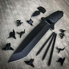 "Black Legion Ninja ""Bag of Tricks"" - Knife, Push Dagger, Spikes, Caltrops in Nylon Sheath"