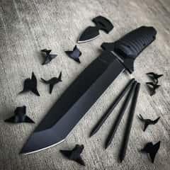 "Black Legion Ninja ""Bag of Tricks"" - Knife, Push Dagger, Spikes, Caltrops in Nylon Sheath"