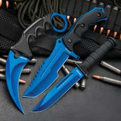 Black Legion Atomic Blue Triple Set - Karambit / Huntsman / Military Knives