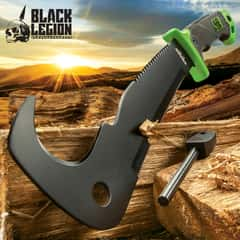 Black Legion Jungle Hunter Canehook Machete with Nylon Sheath | Sawback Serrations | Fire Starter